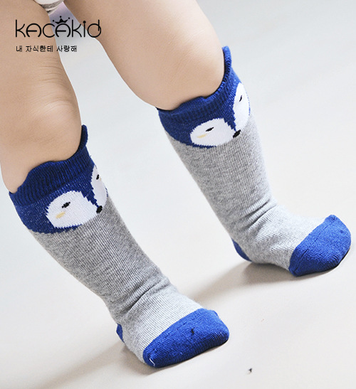 Kacakid Retail baby girls boys cotton socks childrens knee long socks kids cotton Anti-slip Socks fox cartoon 3pairs/lot