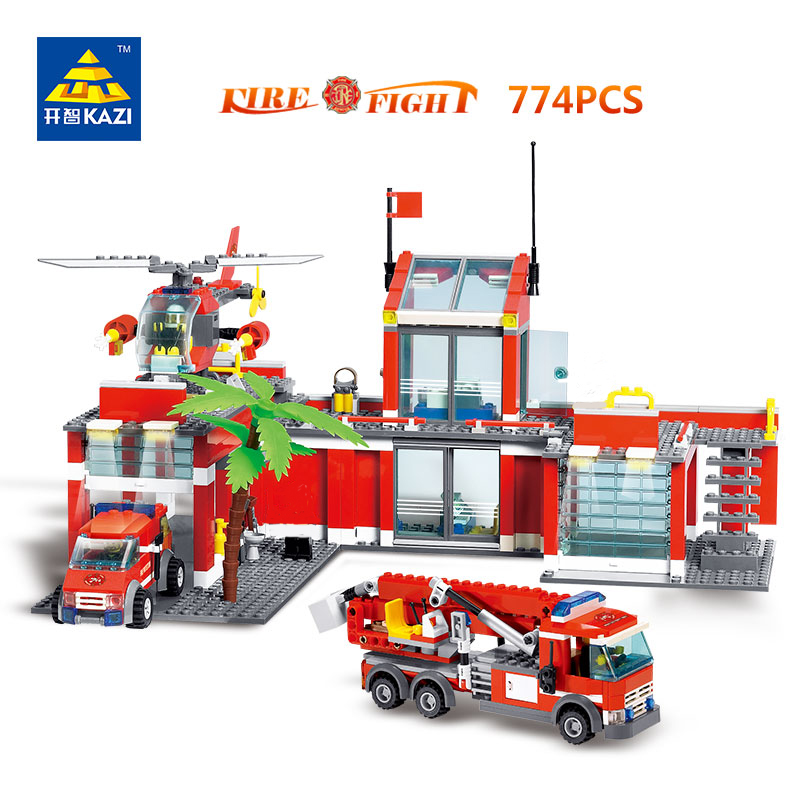 KAZI 8051 Fire Fight Series City Fire Station Truck Helicopter Firefighter 774pcs/set Building Blocks Bricks Toys For Children jie star fire ladder truck 3 kinds deformations city fire series building block toys for children diy assembled block toy 22024