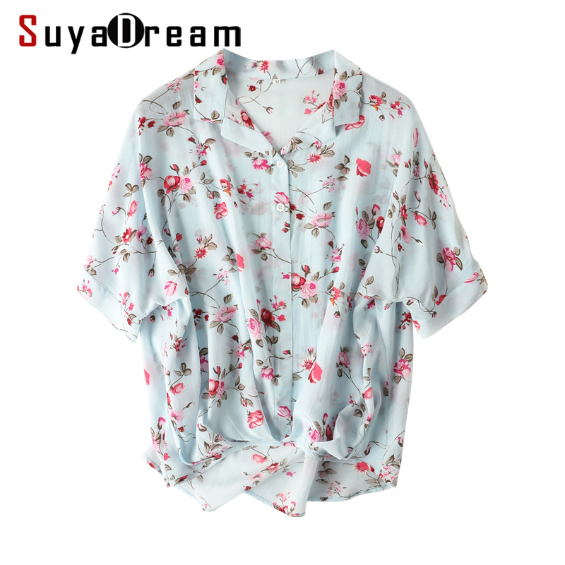 Women Blouse 100% REAL SILK Crepe Floral Print Blouse Shirt Half Sleeved Office Lady Blouses 2019 Summer Shirt