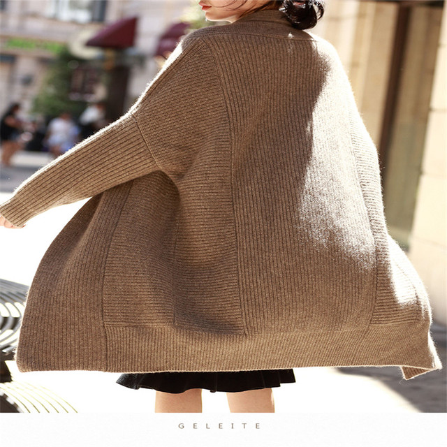 Fashion simple autumn and winter new cashmere knit coat loose lazy wind bat cardigan thick large size long wool knitted jacket