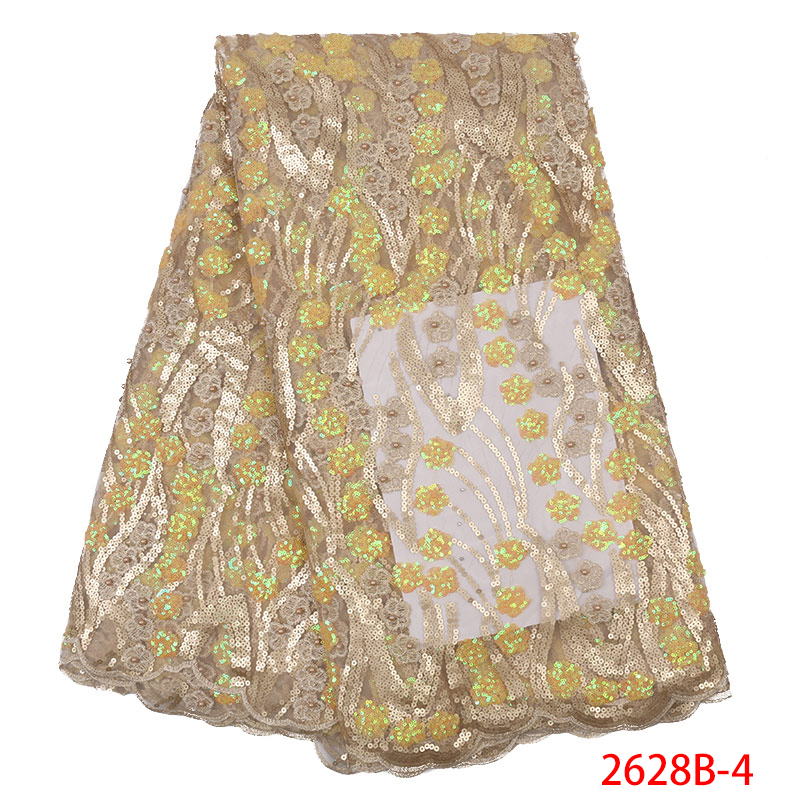 African Lace Fabric Mesh Net Tulle Nigerian Laces Fabric Embroidered High Quality Lace With Sequins Beads KS2628B-4