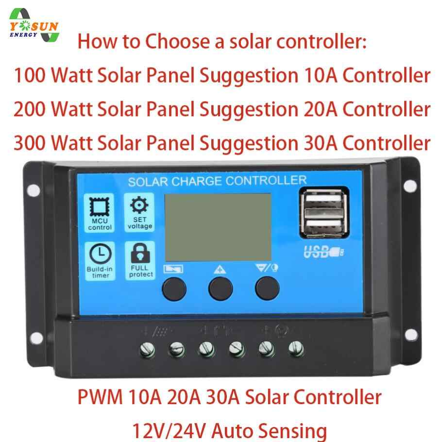 PWM Solar Charge Controller 30A 20A 12V 24V Auto Solar Battery Charger Solar PV Regulators With LCD Display Dual 5V USB Output
