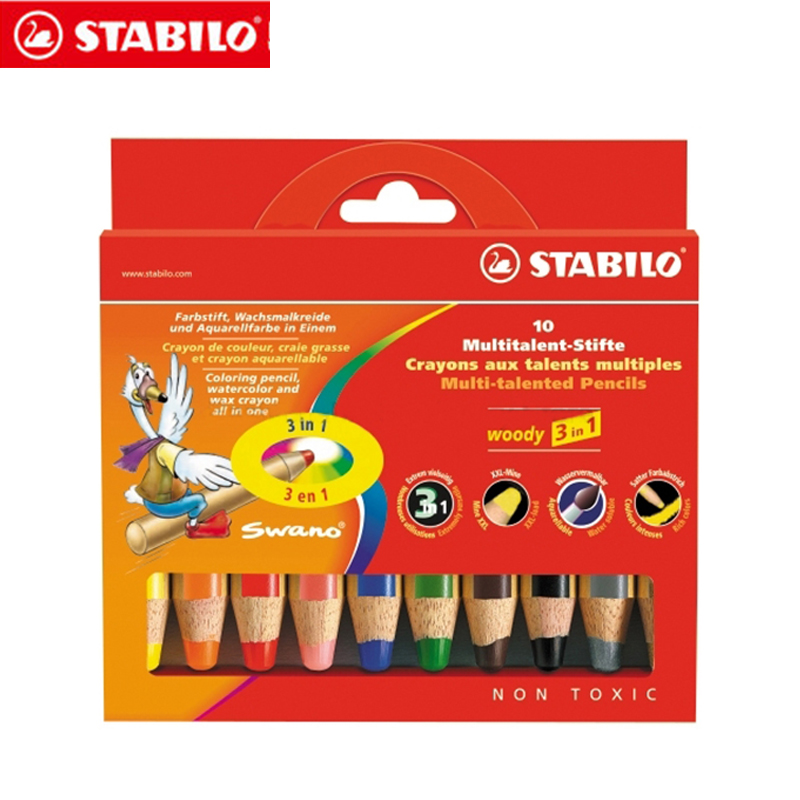 Stabilo 880 Woody 3 in 1 Multipurpose Pencils Water Color Pencils / Crayon/ Brushes Assorted Color 6/18 Colors assorted cartoon pencils 5 pack