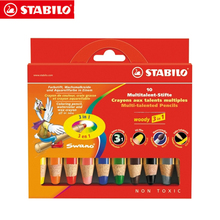 Stabilo 880 Woody 3 in 1 Multipurpose Pencils  Water Color Pencils / Crayon/ Brushes Assorted Color 6/18 Colors