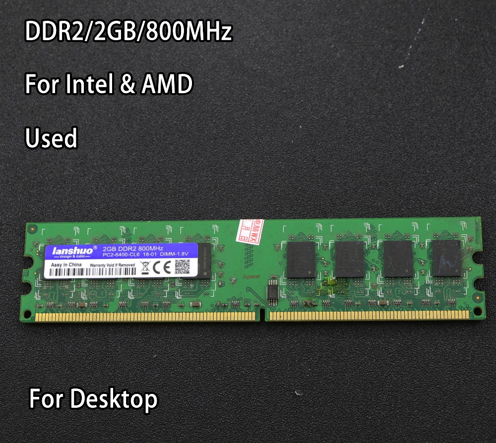 original chipset used 2GB DDR2 PC2-6400 800MHz Desktop RAM PC DIMM Memory RAM 240 pins For AMD for intel 2g 4g 800 667