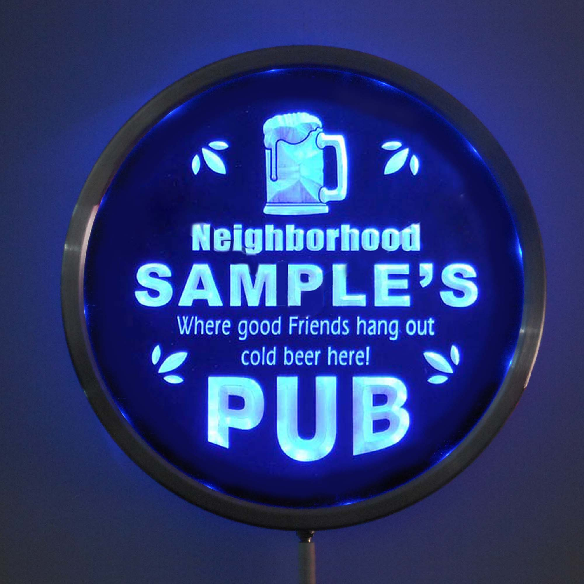 rs-pg-tm Custom LED Neon Round Signs 25cm/ 10 Inch - Personalized Neighborhood PUB RGB Multi-Color Remote Wireless Control