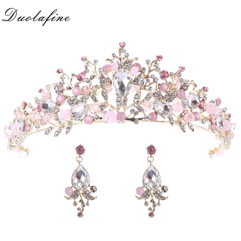 Fashion Gold Color Flower Pink Crystal tiara Princess Crown For Wedding Bride Hair Accessories Hair Jewelry 2 Pcs Earrings HG177 недорого