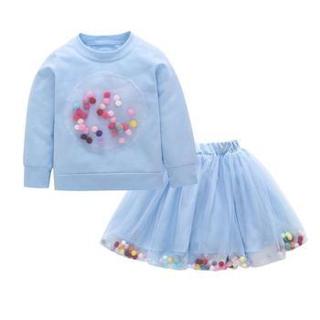 2PCs/Set Autumn Spring Girls Clothes Set Long Sleeve Sweatshirt  Pompom Skirt