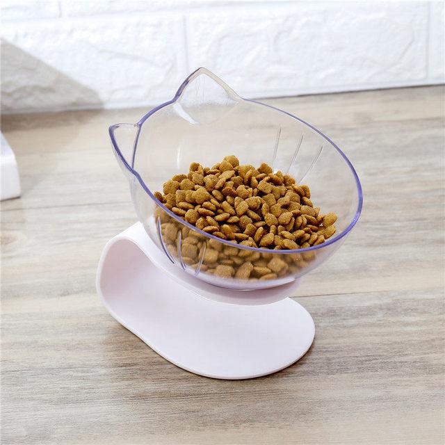Explosive Cat Double Bowl Cat Bowl Dog Bowl Transparent AS Material Non-slip Food Bowl With Protection Cervical Transparent Cat 5
