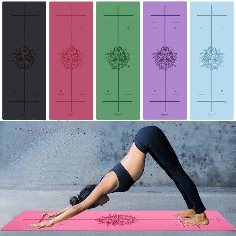Ligne de Position plus longue en caoutchouc naturel antidérapant Tapete Yoga daim tissu perdre du poids tapis d'exercice Fitness tapis de Yoga - 2