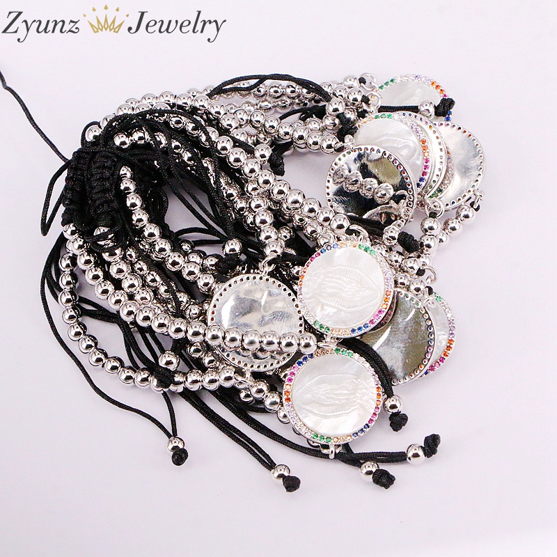 Image 3 - 5PCS, Micro Pave CZ Virgin Maria Mother of Pearl Shell Bracelet Adjustable Link Bracelet Women Jewelry-in Charm Bracelets from Jewelry & Accessories