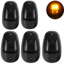 5Pcs Amber Yellow LED Car Roof Top Marker Running Clearance Lights for 12V Truck Pickup Ford SUV 4x4 Warning Lamp 12v amber car roof marker top light bar warning lamp for pickup 4x4 off road suv truck van 55w car roof light h3 bulbs