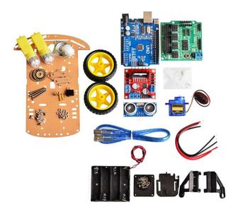 New Avoidance tracking Motor Smart Robot Car Chassis Kit Speed Encoder Battery Box 2WD Ultrasonic module For Arduino kit 4WD image