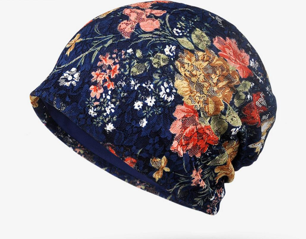 Bulk Hats 50pcs Cheap Floral Slouchy Beanies Caps for Women Nice Spring  Summer Lace Skull Beanie Lady Black Baggy Skullies Caps 01accda3be4