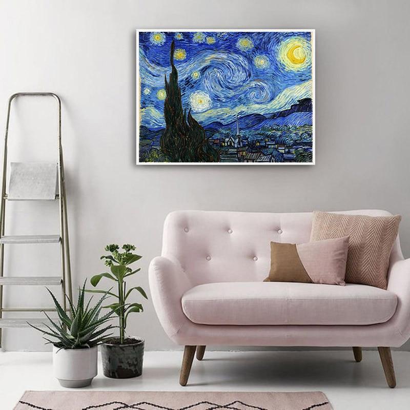 HTB1USkeThjaK1RjSZFAq6zdLFXaj Van Gogh Starry Night Abstract Landscape Canvas Poster Famous Classic Wall Art Print Decorative Picture Modern Living Room Decor
