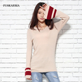 FUSKARMA Autumn Flare Sleeve Blend Knitted Cashmere Women Sweater Fashion Style Knitwear V-neck Pullovers And Sweaters Women