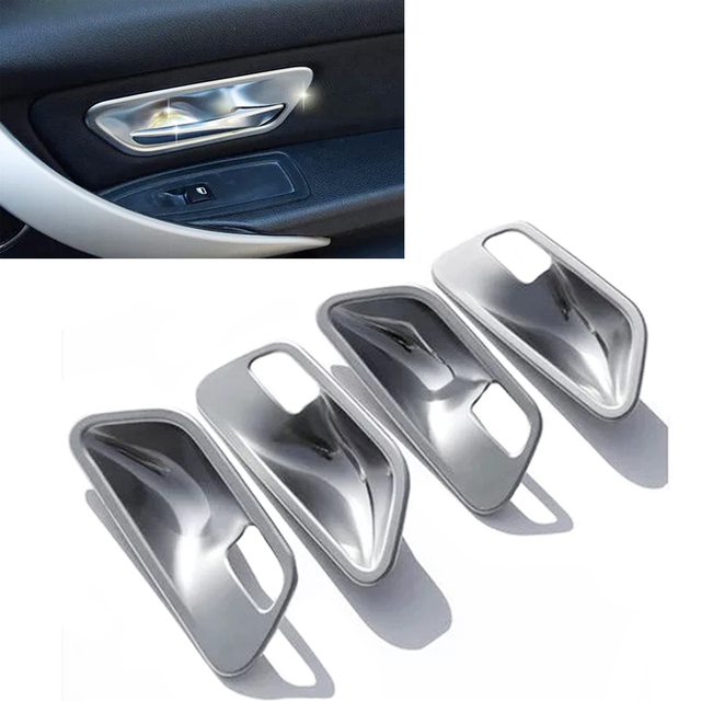 New 4x Chrome Interior Door Handle Cup Bowl Cover Trim for BMW 3 4 ...