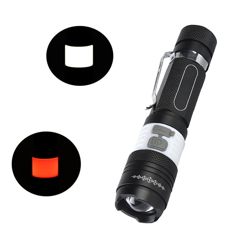COB LED CREE T6 Flashlight Torch 4000LM 6 Mode Portable Waterproof Rechargeable Camping  ...