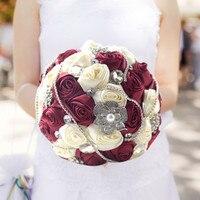 2017 Bridal Akcesoria Diament Jedwabne Wstążki Kwiaty Ślubne Bukiet Panny Młodej Perły Multi Color Symulacja Rose