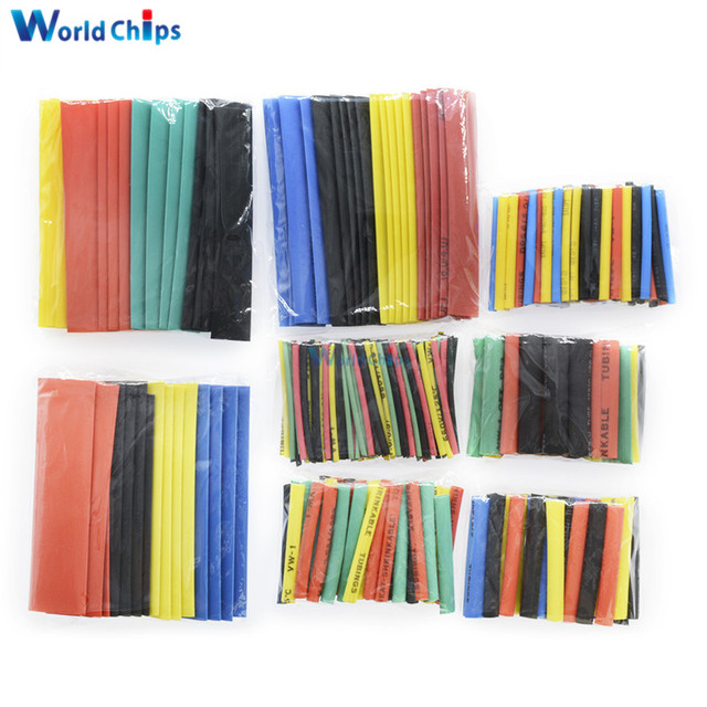 127/140/328/530Pcs Assorted Polyolefin Heat Shrink Tubing Tube Cable Sleeves Wrap Wire Set 8 Size Multicolor/Black 1