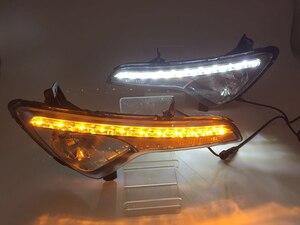 Image 2 - Reflektory samochodowe LED światło do jazdy dziennej DRL dla Kia Sportage 2010 2011 2012 2013 2014 pokrywa lampy przeciwmgielnej światło dzienne z żółty włączanie