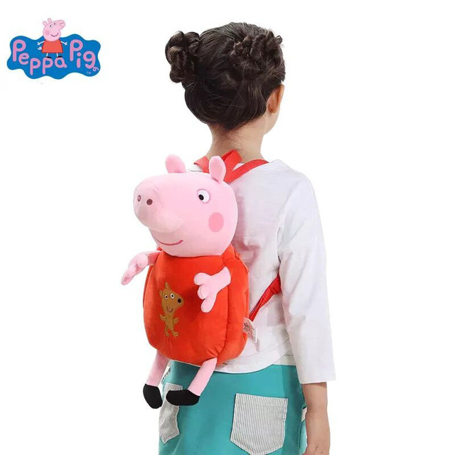 44cm Genuine peppa pig Bigger size George Peppa Backpack kids plush bag for Kindergarten 1pcs free shipping