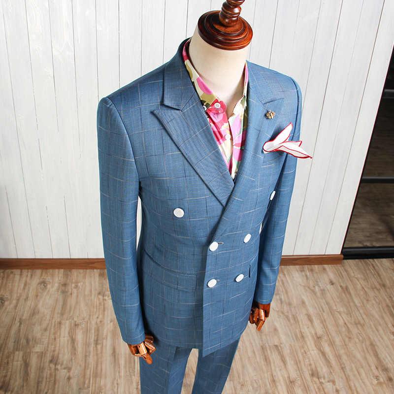 XM Geeki 2019 新到着ファッション宴会結婚式はメンズブルーストライプスーツジャケット男性ビジネスためのスーツ CBTZ032