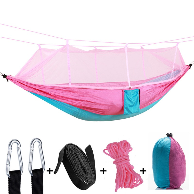Adults Two-person Parachute Cloth Hammock With Mosquito Net Super Light And Thin Breathable Swing Tourism Outdoor Sleeping BedAdults Two-person Parachute Cloth Hammock With Mosquito Net Super Light And Thin Breathable Swing Tourism Outdoor Sleeping Bed