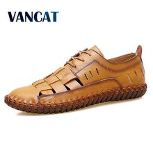 VANCAT 2018 Summer Handmade Genuine Leather Men Shoes Fashion Men Flats Exquisite Design Lace-Up Comfortable Men Casual Shoes