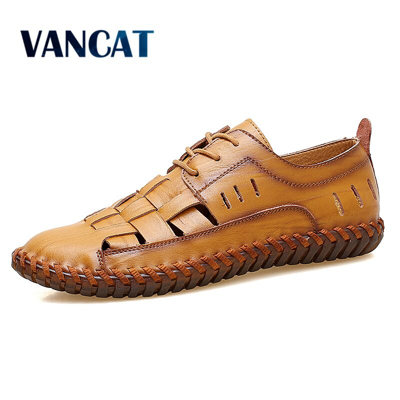 VANCAT 2018 Summer Handmade Genuine Leather Men Shoes Fashion Men Flats Exquisite Design Lace-Up Comfortable Men Casual Shoes handmade men casual shoes fashion split leather men shoes luxury comfortable breathable men summer shoes flats hzhicn