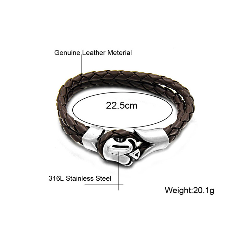 HIP Hand Made Double Layer Leahter Mens Bracelet Brown Color Bracelets Bangles for Men Jewelry