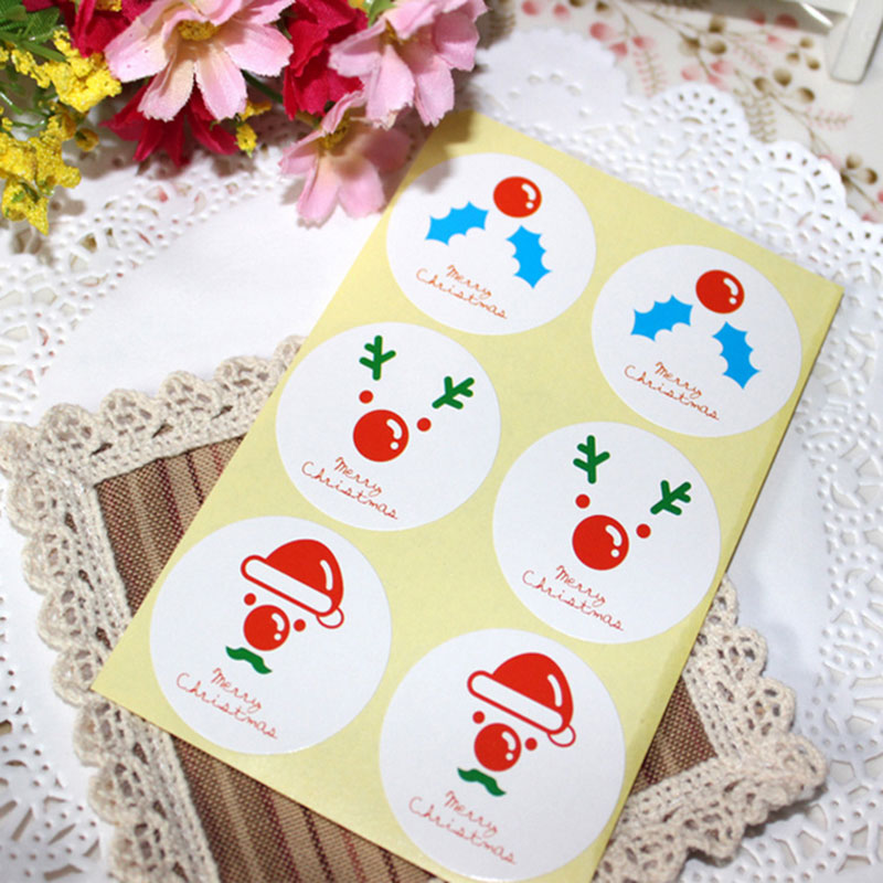 10 page lot (60 pcs) Christmas stickers Santa Claus elk circular adhesive  sticker Candy box gift card decoration party supplies 7de1a8120a0f