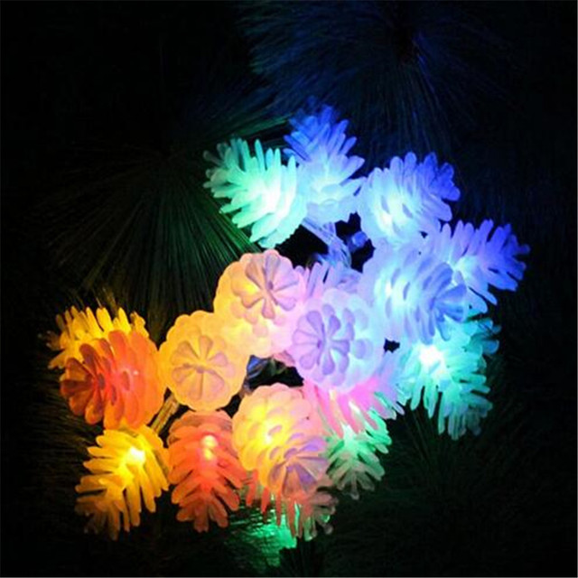 5m28leds colorful modeling led string pinecone flashing christmas lights garlands for holiday party wedding