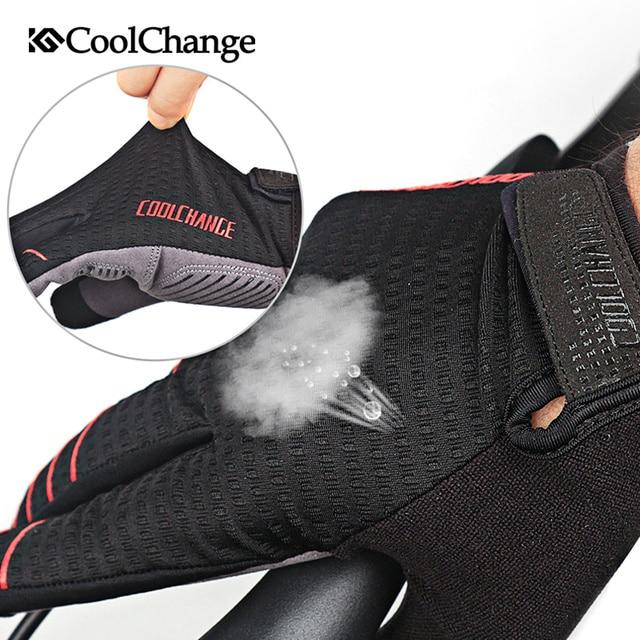 Coolchange luvas de ciclismo dedo cheio luvas de bicicleta tela sensível ao toque à prova de vento esportes homem mulher bicicleta esponja luva à prova de choque 2
