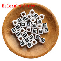 Free Shipping 7 7MM Cube Acrylic Letter Beads Black Single Letter B Printing White Color Square