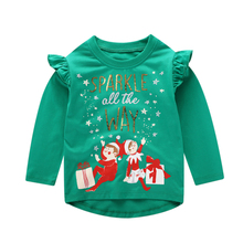Little Maven brand 2019 Long Sleeve Autumn Spring T shirt For baby kids Girls Print Christmas Xmas gift  t-shirts clothes