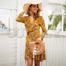 цена CUERLY Ruffle print wrap dress women Sexy v neck mini dress long sleeve summer dress Robo femme streetwear beach vestidos 2019 онлайн в 2017 году