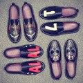2017 Moda Hombres Zapatos Casual Zapatos de Conducción de Cuero Estampados de Mezclilla Plana Zapatos Transpirables Hombres Zapatos Casuales Zapatos Hombre JH5698