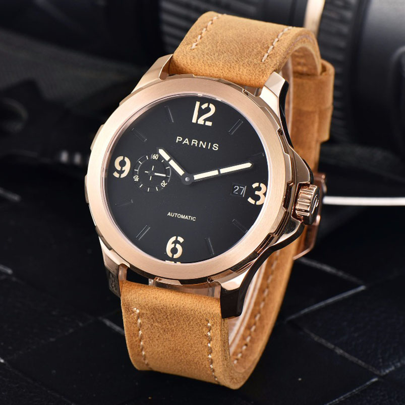 2017 New Arrivals Mechanical Watch Parnis 44mm 5Bar Luminous Brown Leather Rose Gold Mens Automatic Watch reloj hombre 2017 new arrivals mechanical watch parnis 44mm 5bar luminous brown leather rose gold mens automatic watch reloj hombre