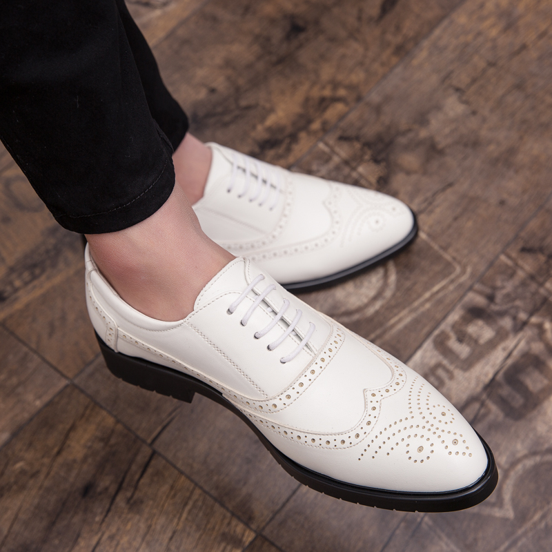 marrom Homem Homens Oxford Moda Casuais Preto Sapatos Genuíno 2019 Até Rendas 44 38 Leath Brogue Mens Derby Preto branco xPqI01T