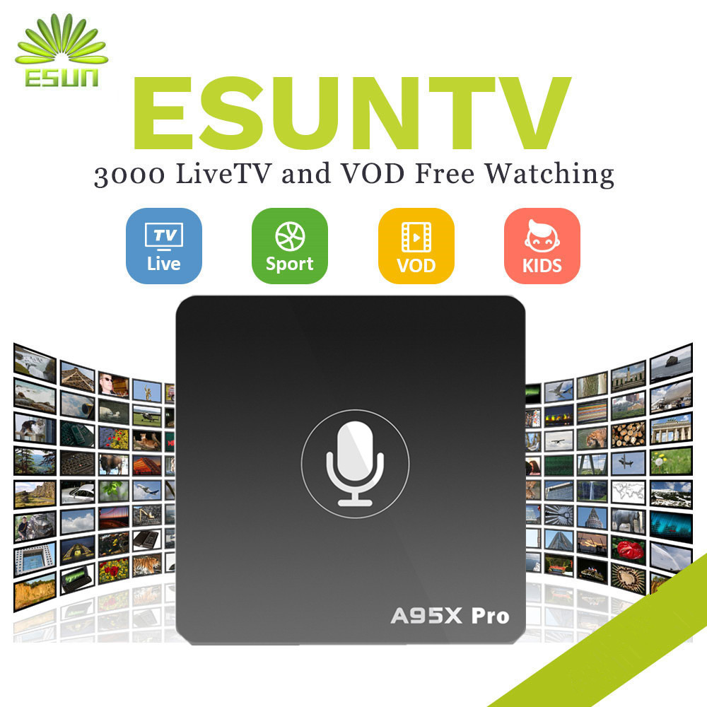 with 1 year A95X Pro Voice Control ESUN IPTV Android 7.1 TV Box Germany Netherlands Spain Portugal Albania USA UK Canada XXX a95x pro voice control with 1 year italy iptv box 2g 16g italy iptv epg 4000 live vod configured europe albania ex yu xxx