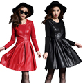 Women Black Red  Leather Evening Party Dress Pu Synthetic Faux Leather Dresses Ladies Autumn Winter Dress Long Sleeve A Line