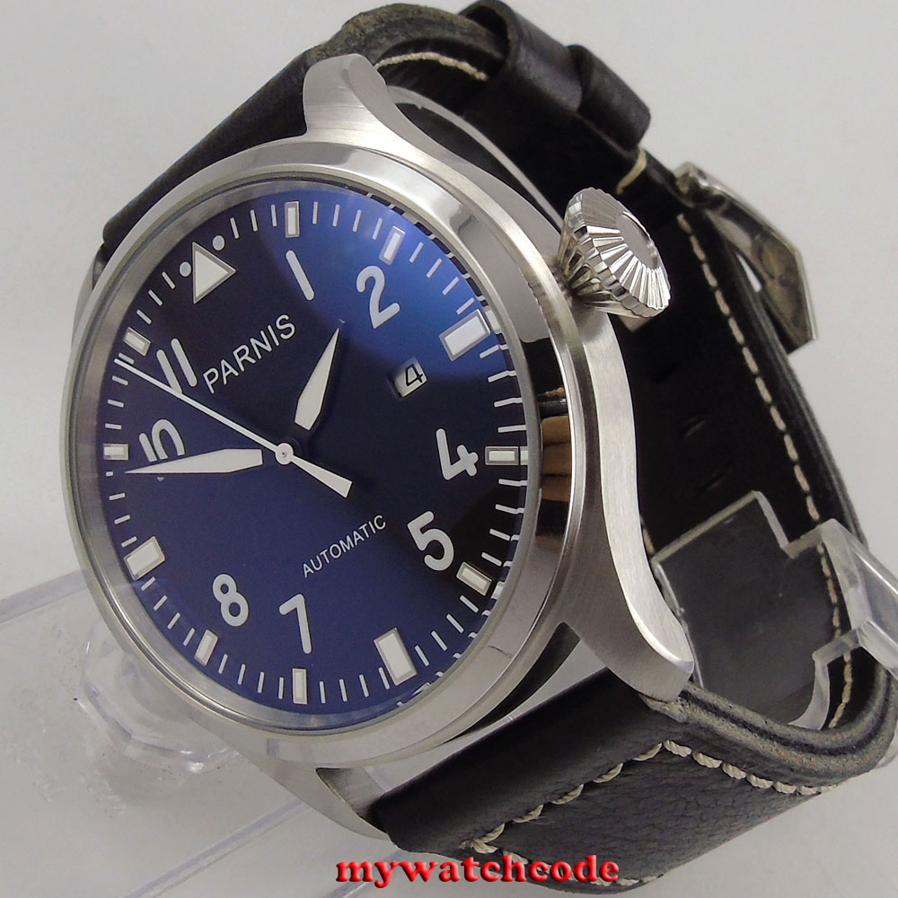 47mm parnis black dial luminous marks date sea-gull automatic mens wrist watch 38