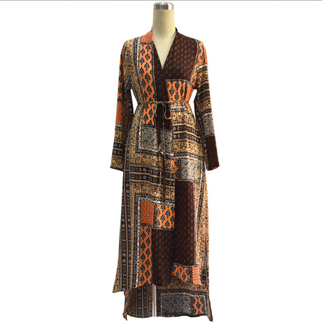 Womens Long Robe Dress Print Long Sleeve Loose Clothing Plus Size 7XL With Belt