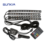 7 Colors Car Styling Music Control Car RGB LED Strip Light Atmosphere Lamp Kit With IR