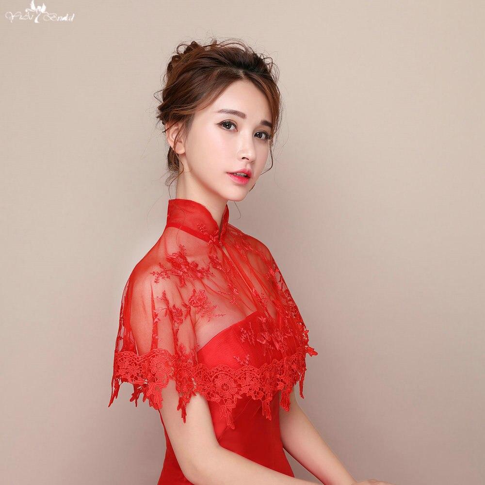 Bolero Rouge Mariage tout lzp094 rouge dentelle bord appliques châles bolero de mariage col