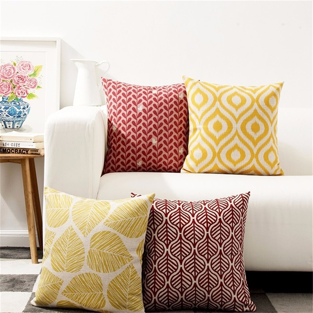 Retro Geometric and Leaf Patterned Cushion Cover