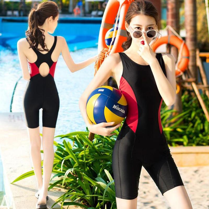 Jersqons One Piece Swimsuit 2018 Professional Women Sleeveless Swimwear Surfing Suit Beachwear Ladies Knee Length Bathing Suit in Rash Guard from Sports Entertainment
