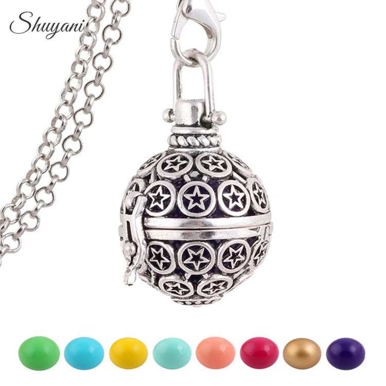 10PCS Shuyani Floating Locket Pregnant Necklace 16mm Colorful Chime Harmony Ball Caller Wishing Ball Pregnant Women Gift