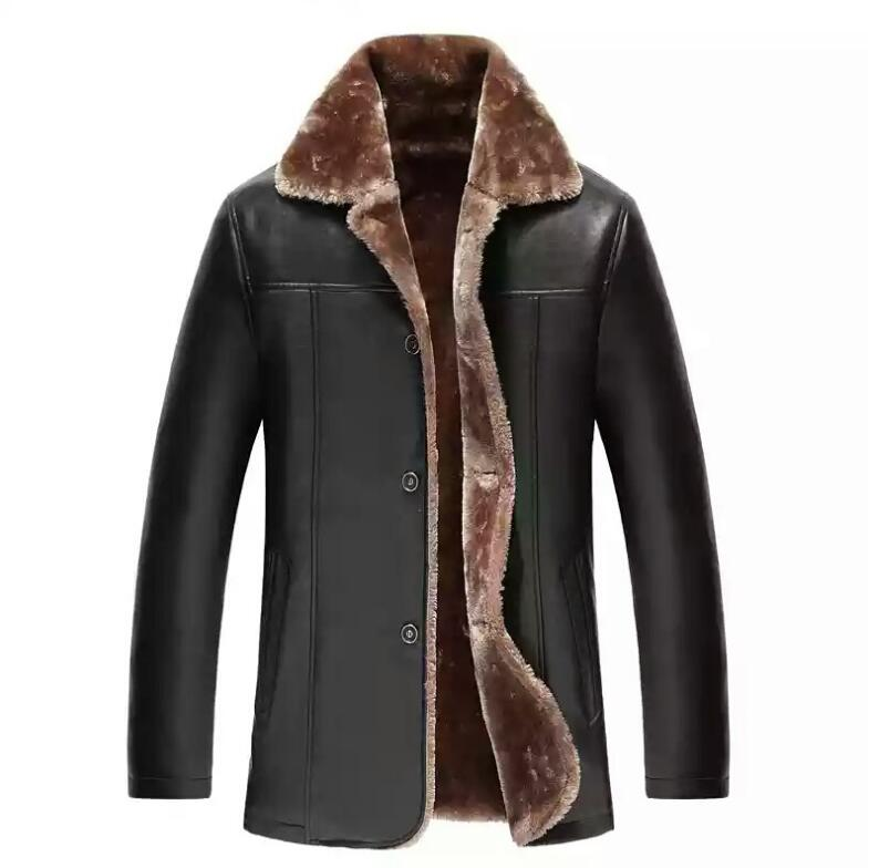 Fur Men's Leather Jacket Coat Warmer Winter Leather Jacket Motorcycle Jacket Inner Liner, Mixed Leather PC077